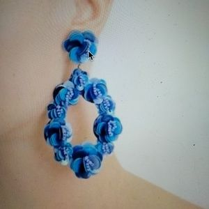 JCrew leather backed sequin earrings in blue NWT